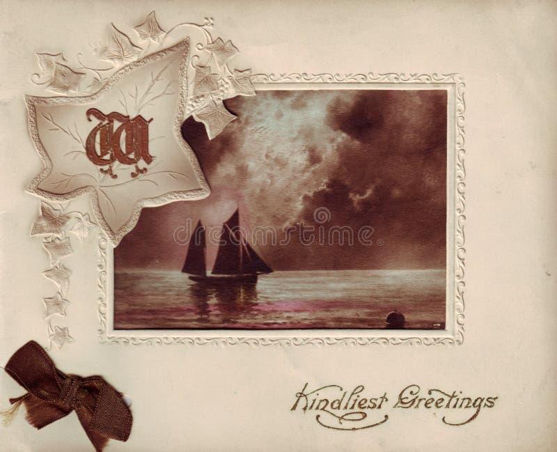 Античная поздравительная открытка стоковая фотография