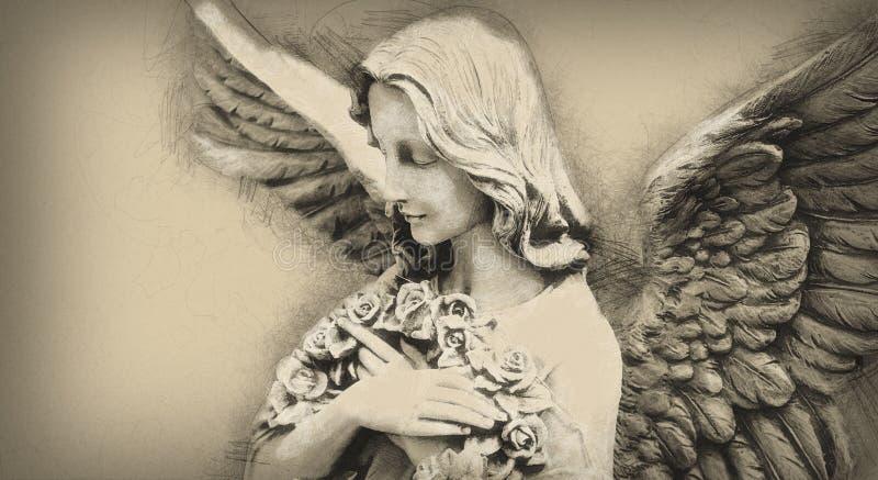Античная статуя ангела в стиле чертежа иллюстрация вектора