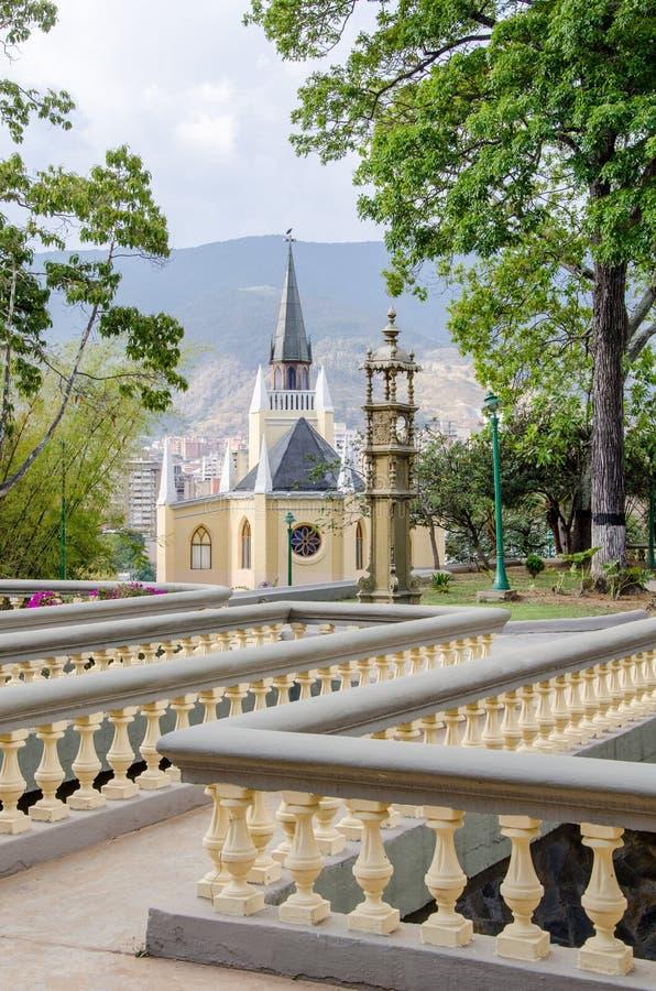 Античная церковь в парке Calvario, Каракасе, Венесуэле стоковые фотографии rf