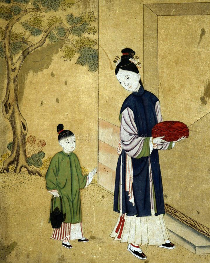 Античное китайское изображение женщины и ребенка стоковое изображение rf