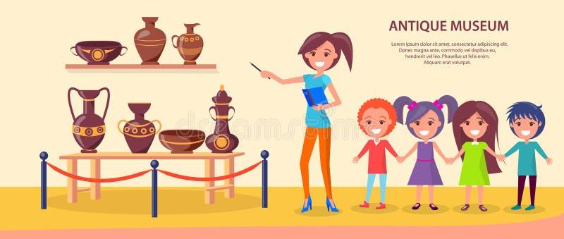 Античное отклонение музея с ребеятами школьного возраста иллюстрация вектора