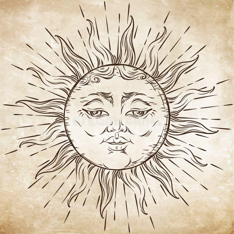 Античной солнце искусства стиля нарисованное рукой Вектор дизайна татуировки Boho шикарный бесплатная иллюстрация