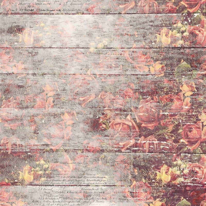 Античные винтажные розы сделали по образцу предпосылку в деревенских цветах падения стоковое фото