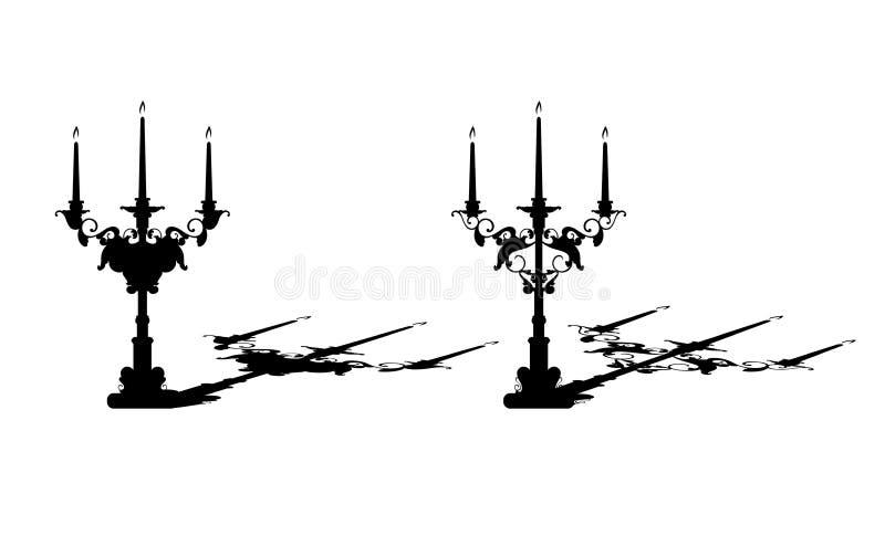 Античные держатели для свечи чернят набор силуэта вектора иллюстрация штока
