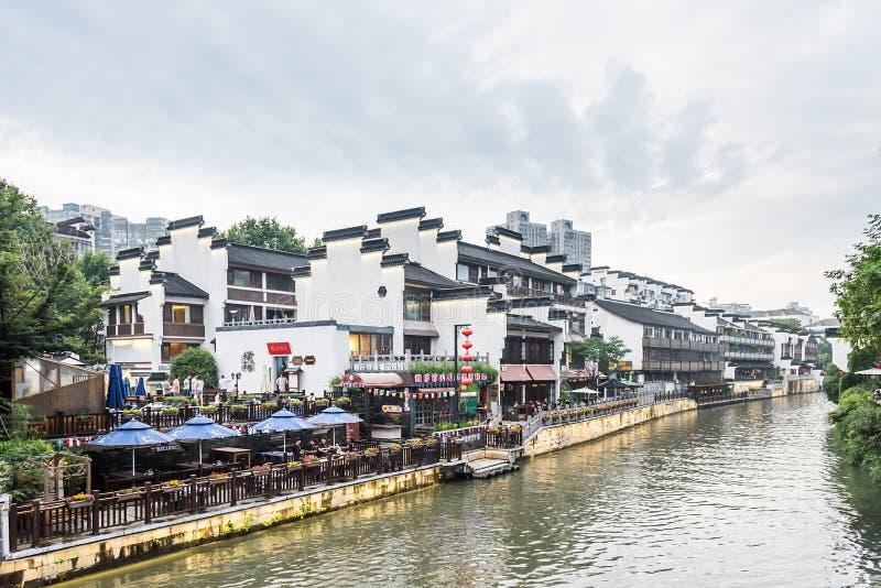 Античные здания вдоль реки Qinhuaihe стоковые фотографии rf