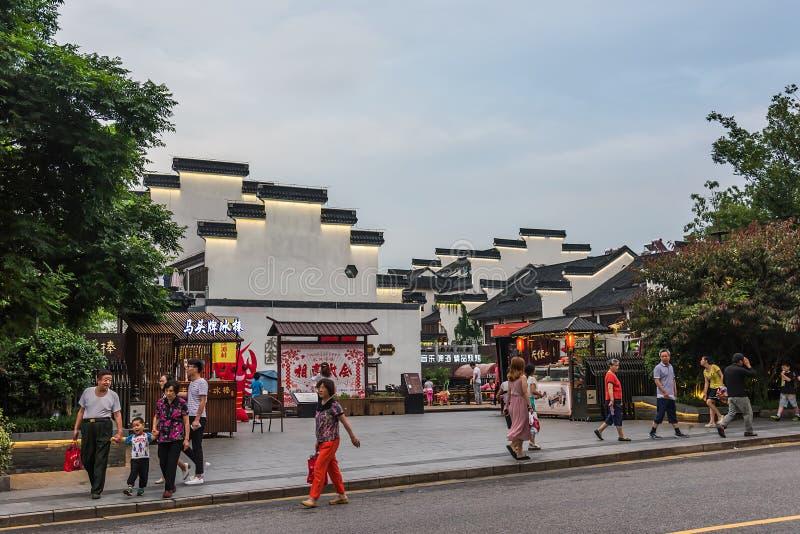 Античные здания вдоль реки Qinhuaihe стоковое изображение