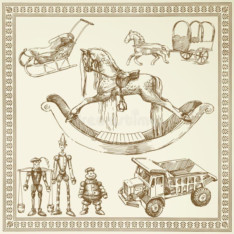 античные игрушки иллюстрация вектора