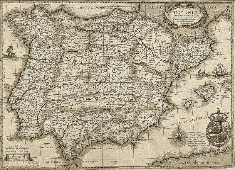 Античные Испания и Португалия составляют карту в тоне sepia стоковое фото rf
