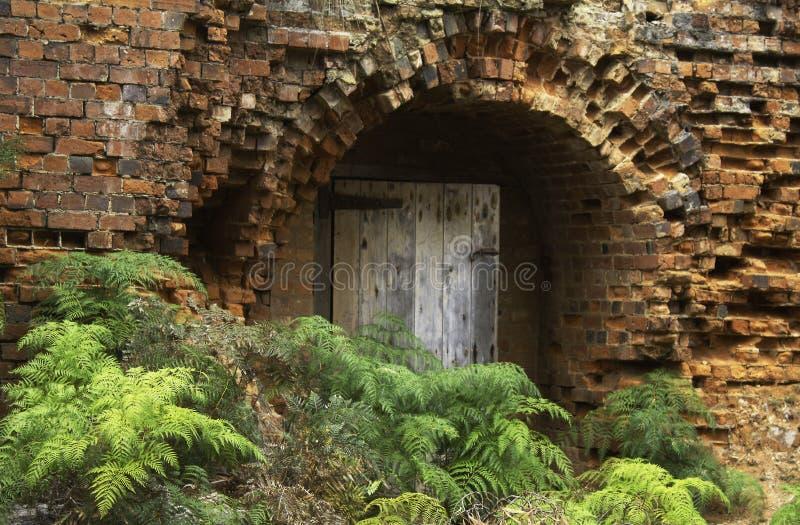 Античные кирпичи выравнивают стены печи для обжига кирпича на острове Мария, Тасмании стоковые фото