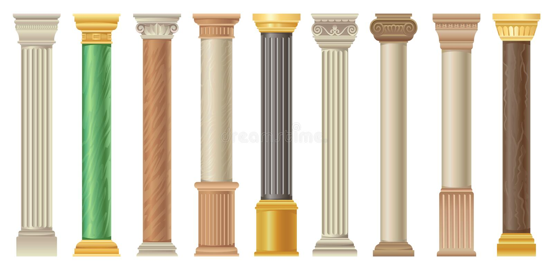 Античные столбцы и pilars установили, классические каменные столбцы в различных иллюстрациях вектора стилей на белой предпосылке иллюстрация штока