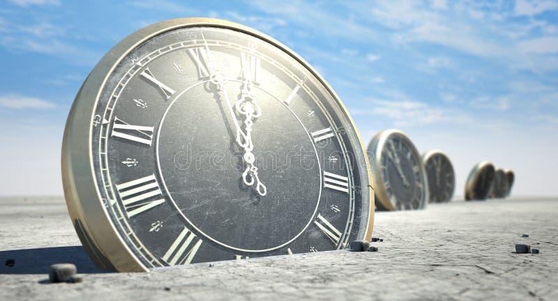 Античные часы в песке пустыни стоковое изображение rf