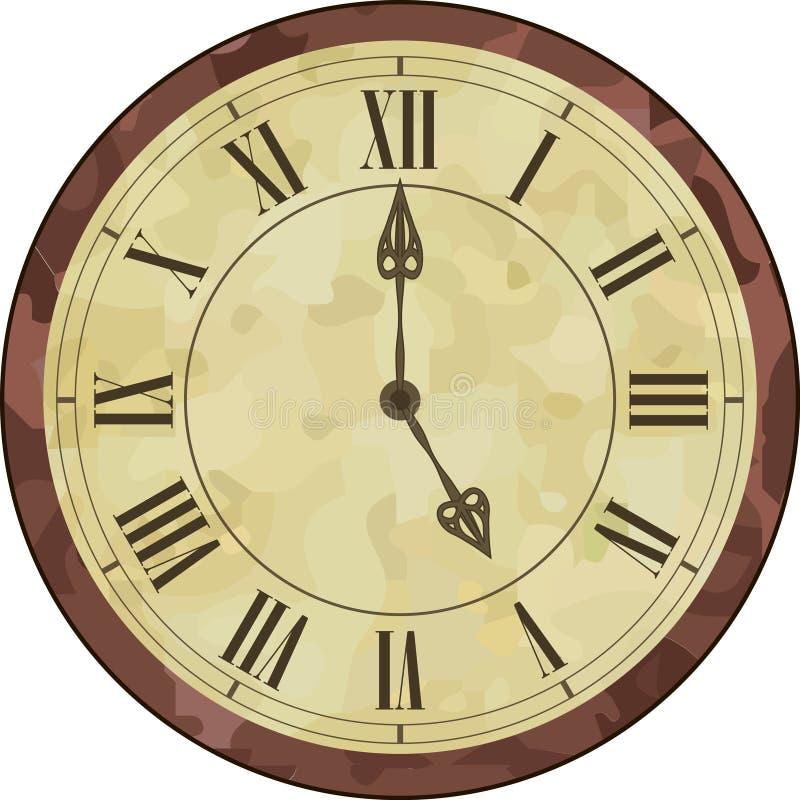 Античные часы римского цифра иллюстрация вектора