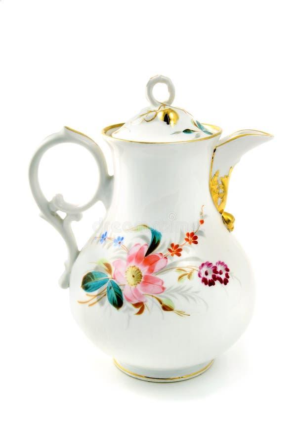 Античный бак кофе сделал фарфор в более biedermeier временах стоковое изображение