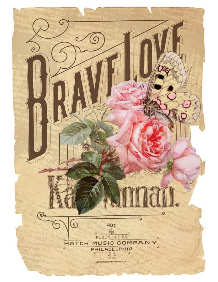 Античный ботанический коллаж - затрапезный шик - пинк Роза - винтажные ноты - огорченная бумажная предпосылка стоковые изображения rf