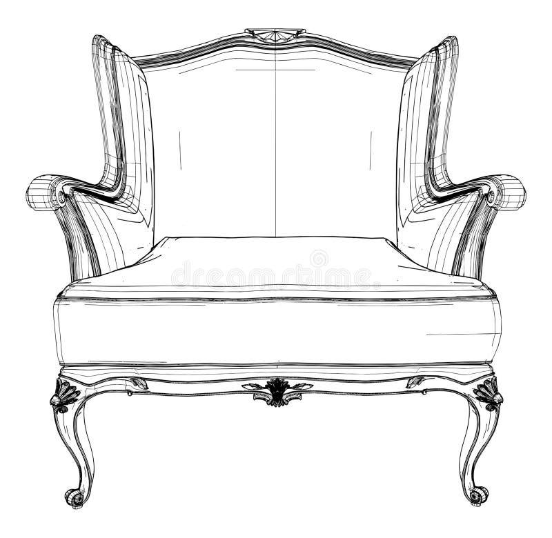 античный вектор кресла 03 иллюстрация штока