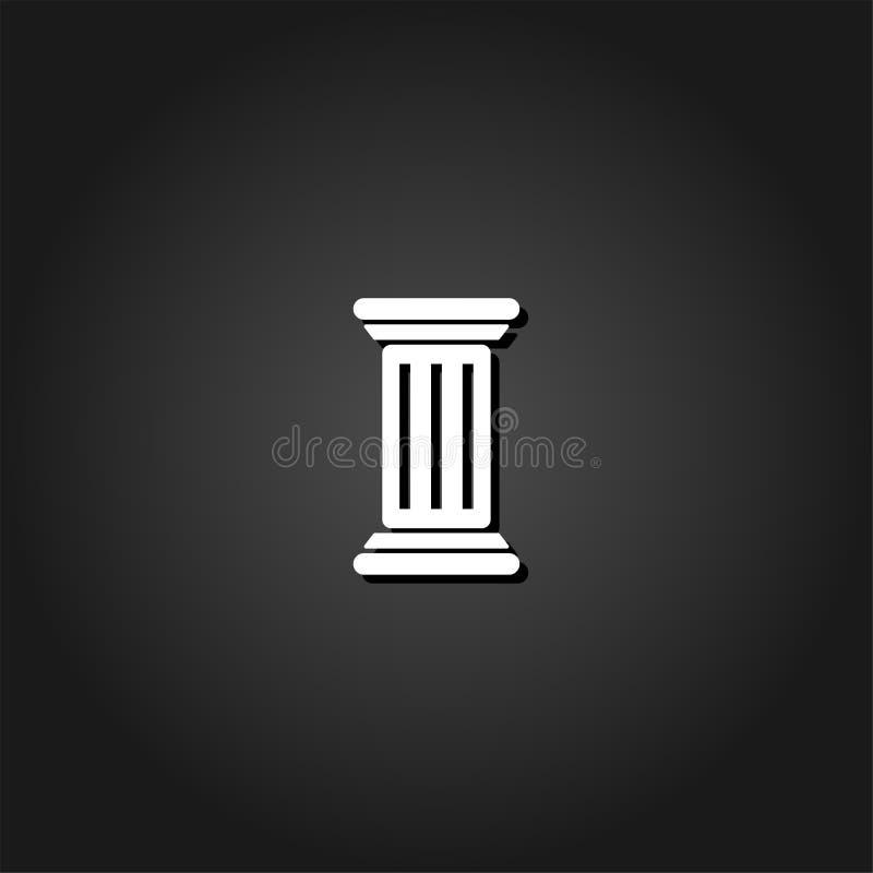 Античный значок столбца плоско бесплатная иллюстрация