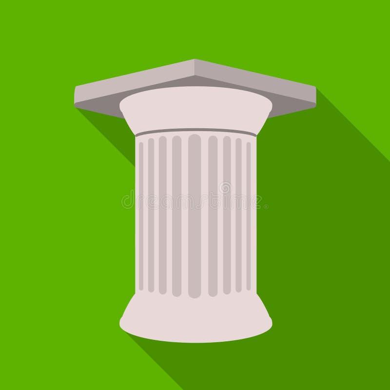 Античный значок столбца в плоском стиле изолированный на белой предпосылке Иллюстрация вектора запаса символа Греции иллюстрация вектора