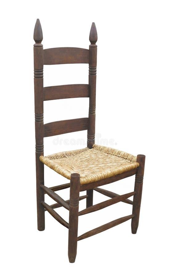 Античный изолированный стул задней части лестницы стоковые изображения