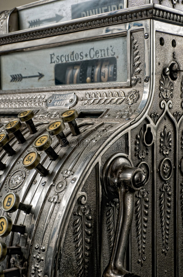 античный кассовый аппарат стоковое фото