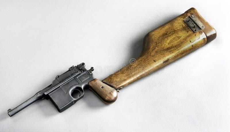 Античный немецкий пистолет Broomhandle стоковая фотография