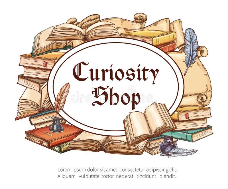 Античный плакат книжного магазина с ручкой книги и quill бесплатная иллюстрация