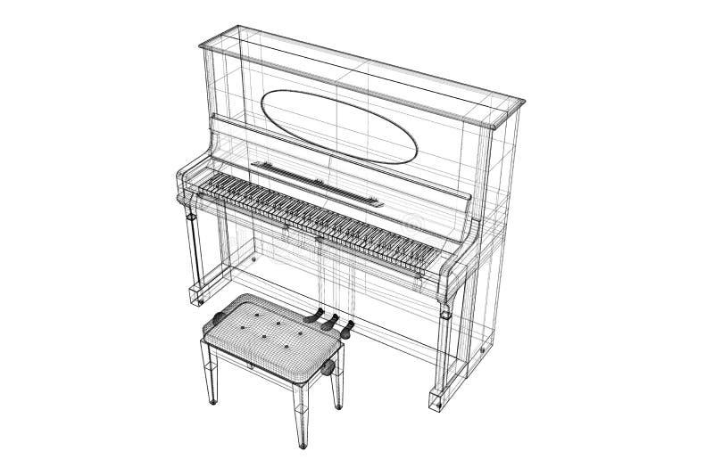 Античный рояль с путем иллюстрация вектора