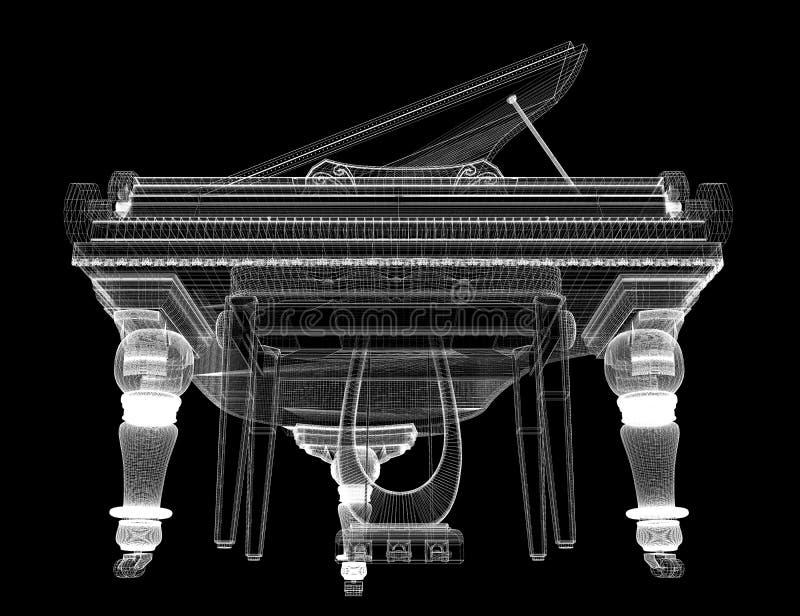 Античный рояль с путем бесплатная иллюстрация