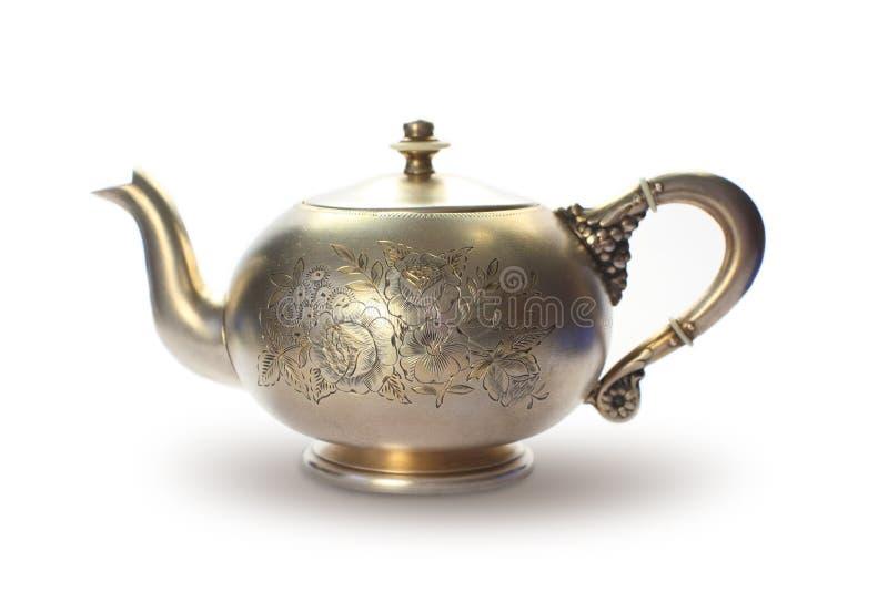 античный серебряный чайник стоковое фото rf