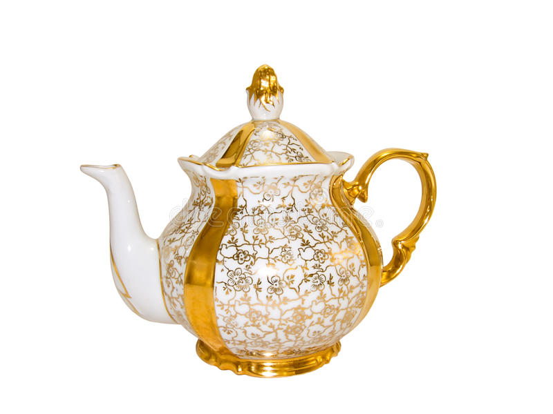 античный старый чайник обслуживания фарфора стоковая фотография rf