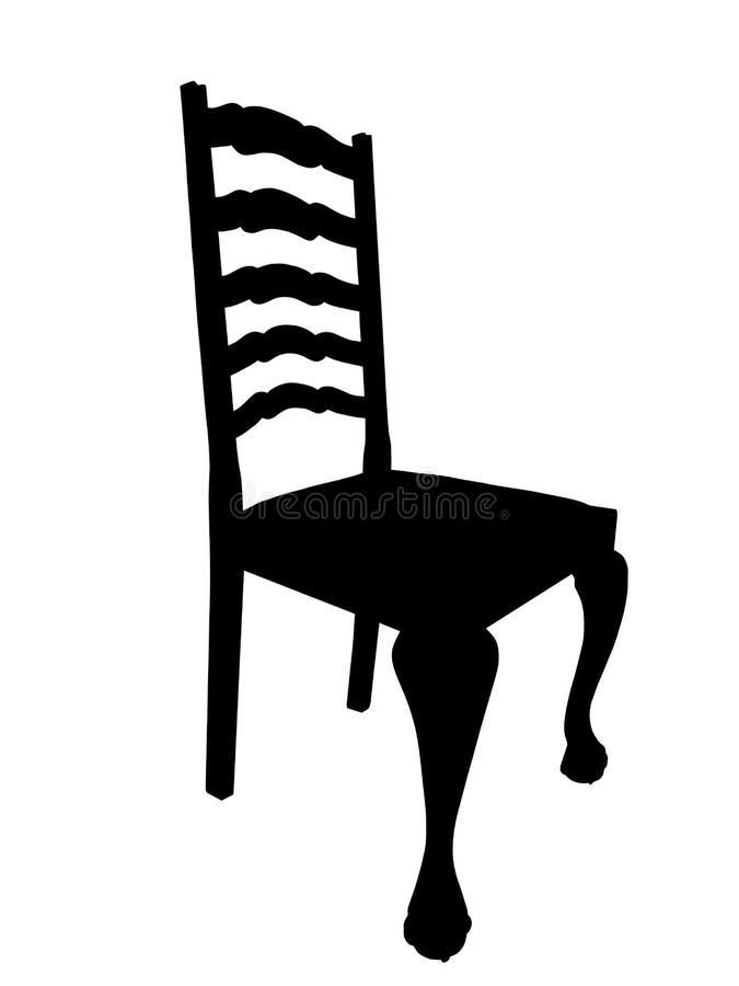 античный стул обедая таблица силуэта изоляции иллюстрация штока