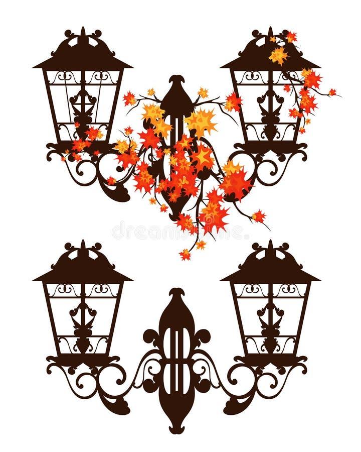 Античный уличный фонарь среди вектора листвы осени иллюстрация вектора