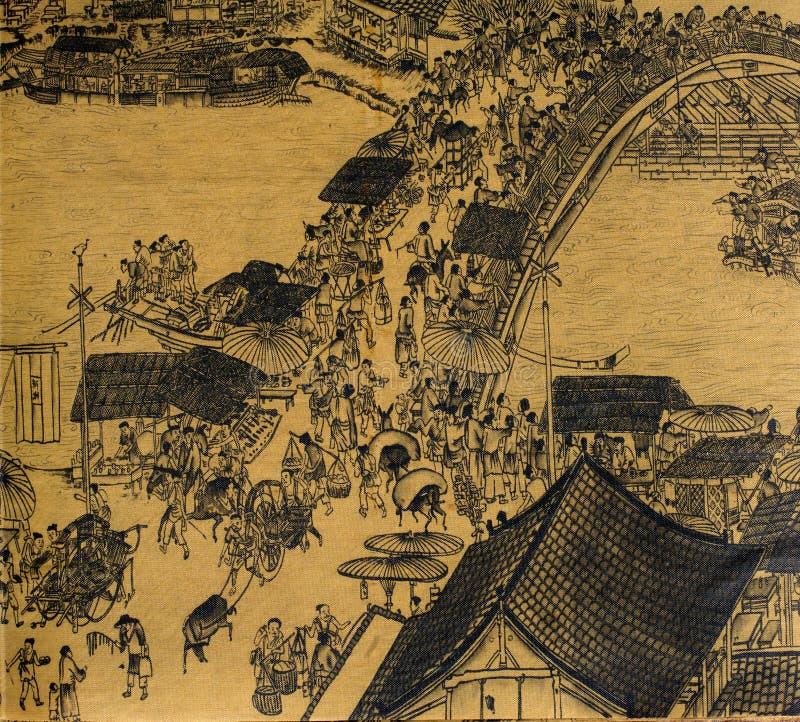 античный шелк китайской картины иллюстрация штока