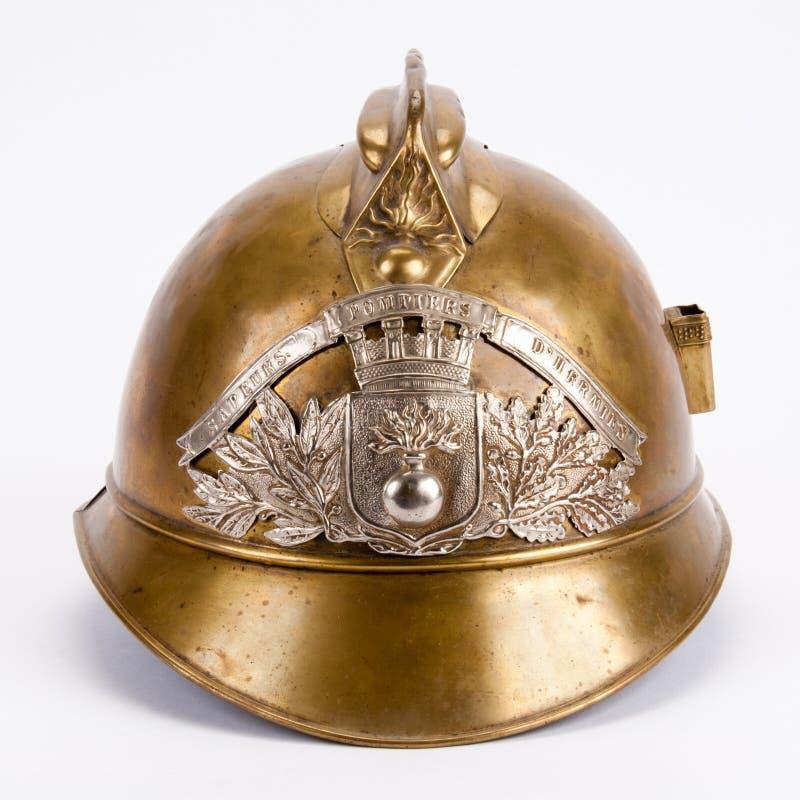 античный шлем франчуза пожара стоковая фотография