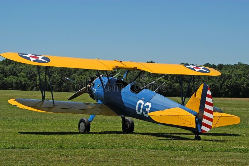 античный No1 самолет-биплана Стоковое Изображение RF