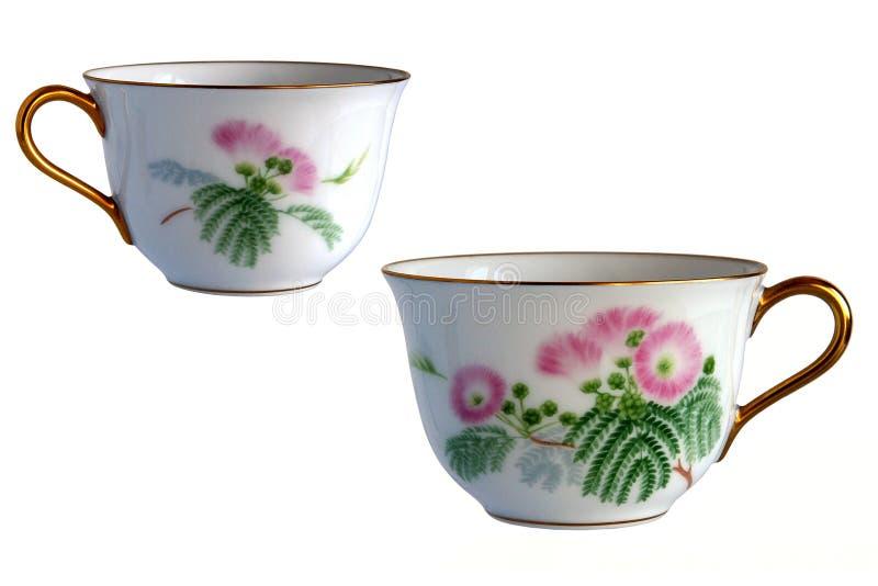 2 античных чашки фарфора стоковая фотография rf