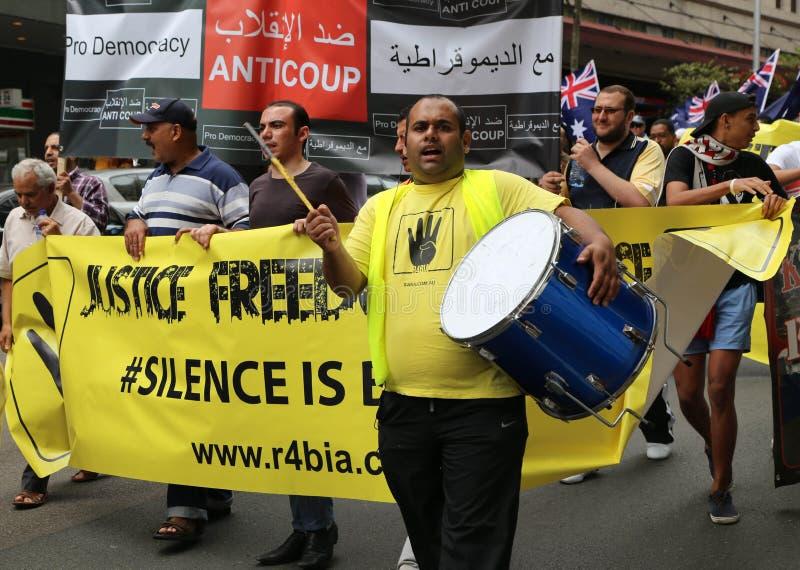 Анти--египетские протестующие правительства в Сиднее стоковое фото rf