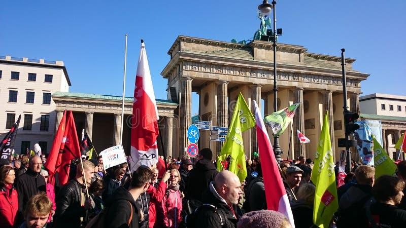Анти- демонстрация Берлин TTIP стоковая фотография rf