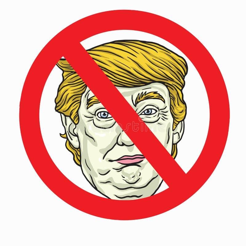 Анти- знак Дональд Трамп также вектор иллюстрации притяжки corel 2-ое ноября 2017 иллюстрация вектора