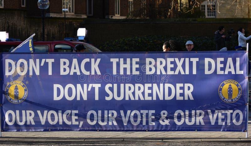 Анти- знамя дела Brexit в Вестминстере Лондоне, Великобритании январе 2019 стоковые изображения rf