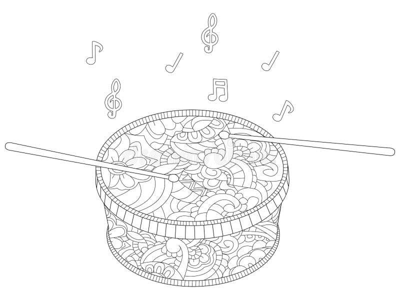 Анти- музыкальный инструмент стресса, барабанчик с вектором палочек Дети крася, цвет, черно-белый иллюстрация вектора