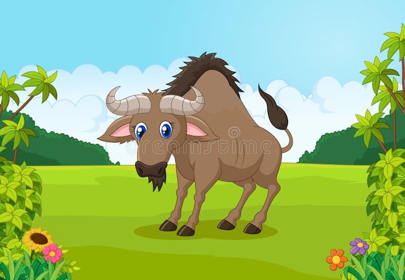 Антилопа гну шаржа животная в джунглях иллюстрация штока