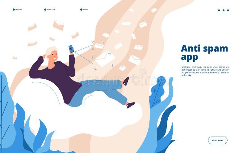 Анти- приложение спама Вектор программного обеспечения безопасности почты спаммера предохранения от вируса пиратства электронного бесплатная иллюстрация