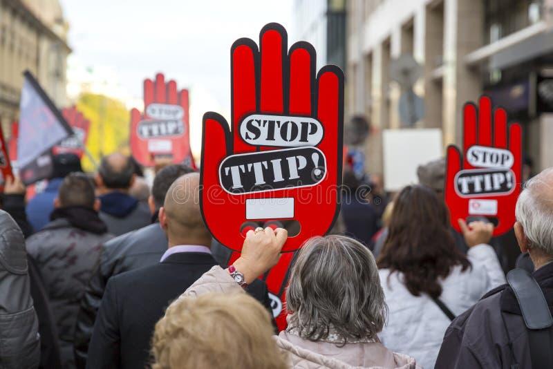 Анти- протест TTIP стоковые изображения
