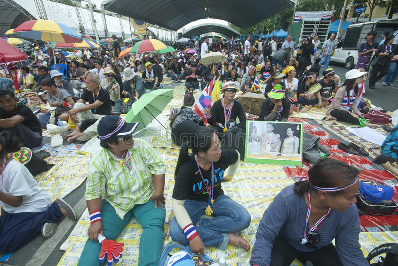 Анти- тайский протест правительства  стоковое изображение rf
