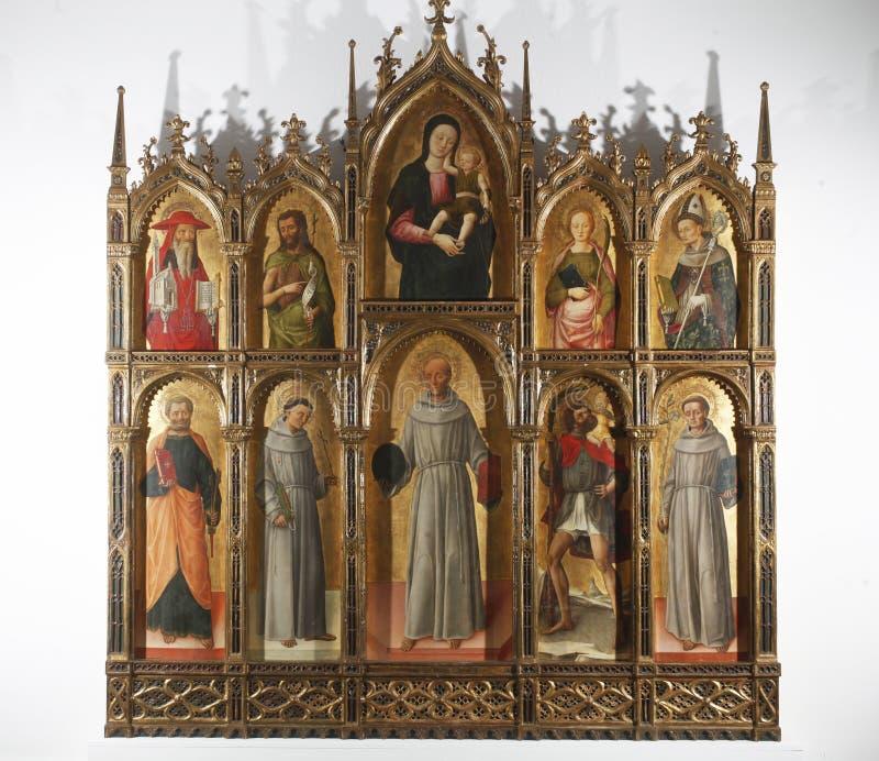 Антонио и Bartolomeo Vivarini: Polyptych Богоматери с младенцем с Святыми стоковое изображение rf