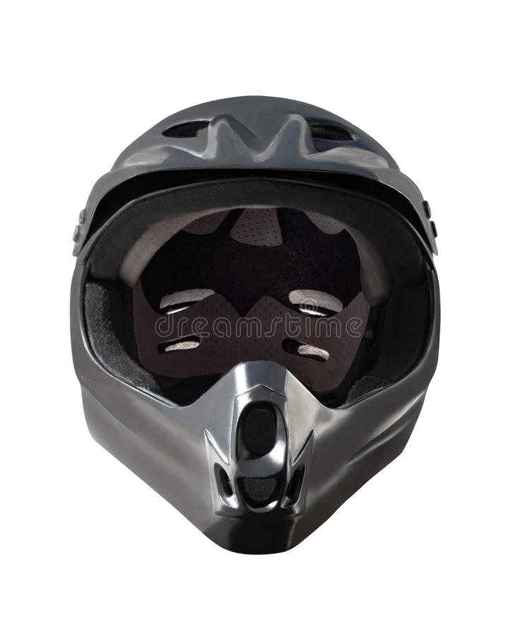 Анфас черный изолированный шлем стоковые изображения