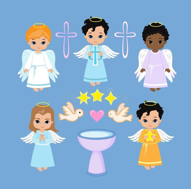 Анджел цифров Clipart Установите мальчиков Анджела на небе баптиста иллюстрация штока