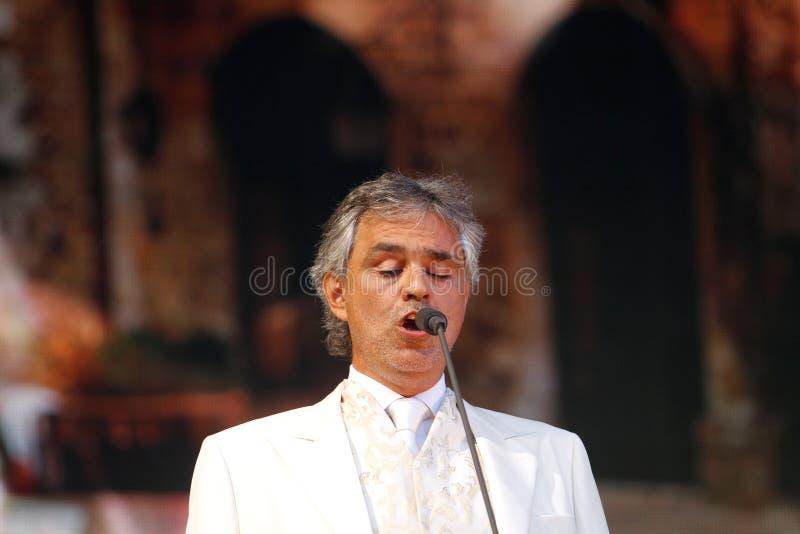Андреа Bocelli в реальном маштабе времени стоковые фото