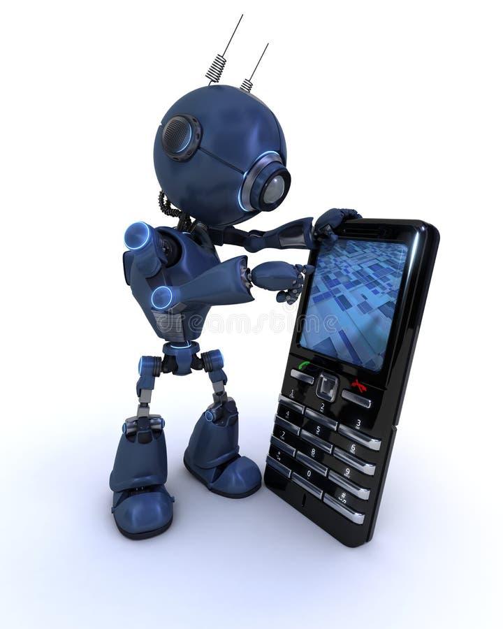 Андроид с сотовым телефоном иллюстрация вектора