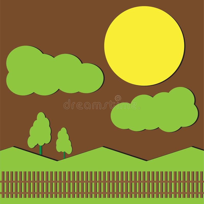 ландшафты и полнолуние иллюстрация штока